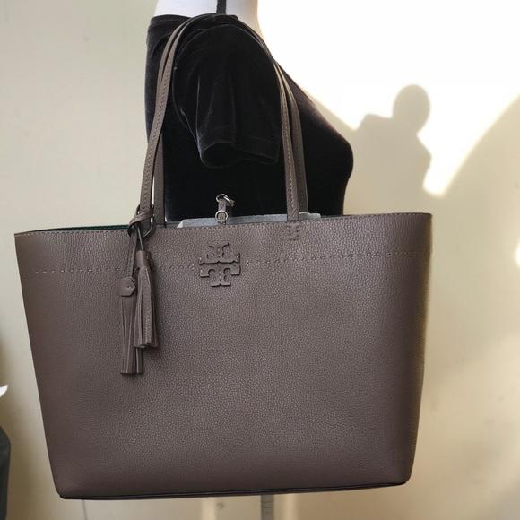 4229608d949 Tory Burch McGraw Tote handbag silver maple